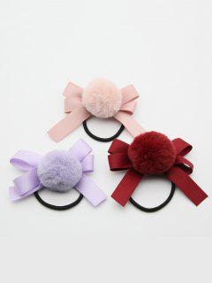3 Pcs Cute Fuzzy Ball Bowknot Elastic Hairband - Multi-c