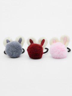 3 Pcs Rabbit Ear Embellished Elastic Hairband - Multi-c