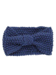 Winter Bowknot Solid Color Knitted Headband - Bleu Marine Ordinaire