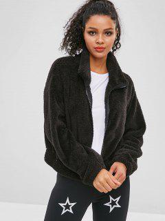 ZAFUL Fluffy Drop Shoulder Zipper Teddy Jacket - Black S