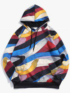 Abstract Art Design Pullover Drawstring Hoodie - Multi 2xl
