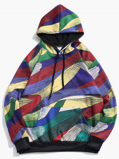 Abstract Art Design Pullover Drawstring Hoodie - Multi-d L