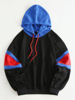 Drop Shoulder Colorblock Pocket Hoodie - Black Xl