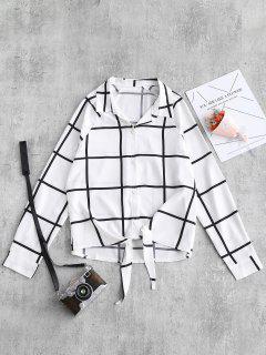 Camisa De Rejilla Con Lazo - Blanco S
