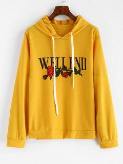 Floral Well End Graphic Hoodie - Bright Yellow Xl
