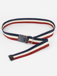 Color Block Canvas Waist Belt - Black