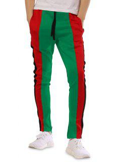 Color Block Patchwork Casual Track Pants - Green 3xl