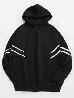 Contrast Stripe Patchwork Loose Fleece Hoodie - Black 2xl