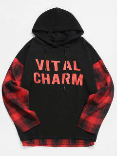 Contrast Plaid Patchwork Letter Hoodie - Red Xl