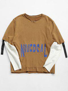 Raw Edge Letter False Two Piece Sweatshirt - Khaki Xl