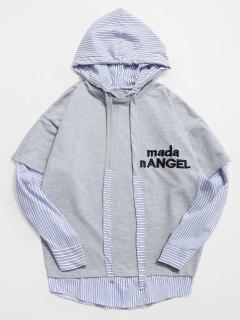 Stripe Embroidery False Two Piece Hoodie - Light Gray L