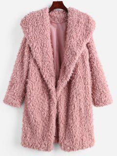Fluffy Longline Teddy Coat - Pig Pink S