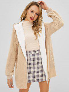 Hooded Zip Up Fluffy Teddy Coat - Apricot S