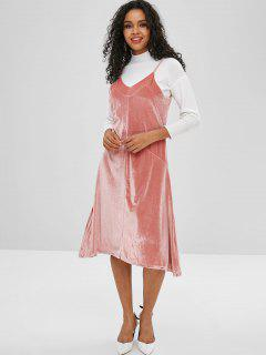 Velours Casual Cami Dress - Rose Kaki