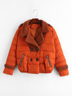Chaqueta Acolchada Color Block De Bolsillo - Naranja De Calabaza  M