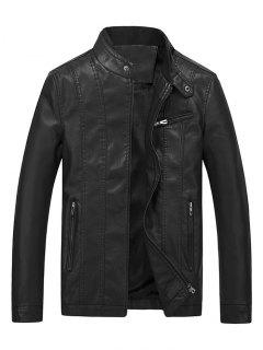 Casual Solid Zipper PU Leather Jacket - Black Xs