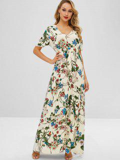 ZAFUL Maxi Flower Print Slit Dress - Multi L