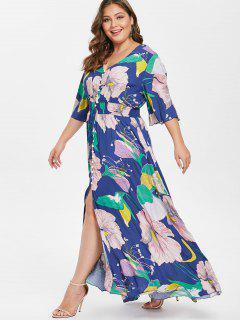 Vestido Entallado Con Estampado De Flores Y Talla Grande - Multicolor 3x