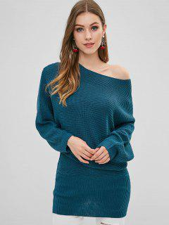 Skew Neck Dolman Sleeves Longline Sweater - Peacock Blue M