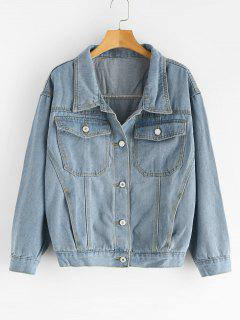 Button Up Pockets Denim Jacket - Denim Blue M
