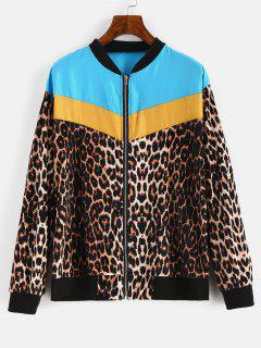 Leopard Color Block Zipper Jacket - Multi-a Xl