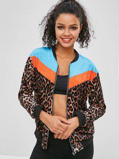 Leopard Color Block Zipper Jacket - Multi M