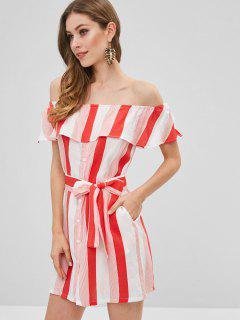 Button Up Off Shoulder Stripes Dress - Valentine Red S