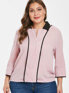 Blusa Con Cuello Redondo De Color Talla Grande - Rosa L