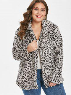 Plus Size Leopard Button Up Coat - Leopard 3x