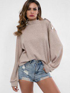 High Neck Buttons Embellished Sweater - Khaki S