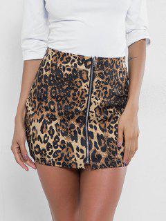 Zip Front Leopard Print Skirt - Leopard M