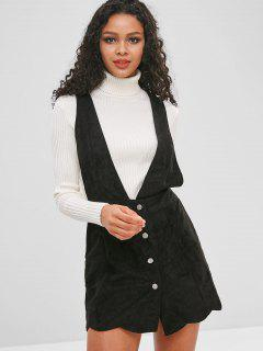 Plunging Button Up Scalloped Dress - Black L