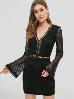 Mesh Crochet Bodycon Party Dress - Black L