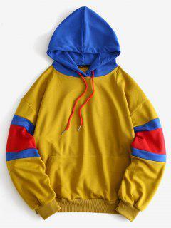 Drop Schulter Colorblock Pocket Hoodie - Goldrute M
