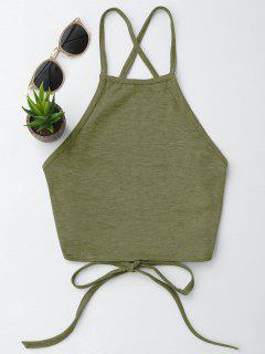 Parte Posterior Abierta De La Camiseta Sin Mangas Recortada - Verde Del Ejército Xl