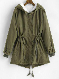 Hooded Fleece Linging Back Slit Coat - Army Green S