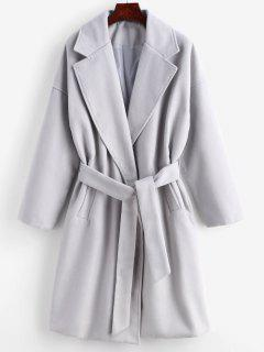 Tie Belt Faux Wool Winter Coat - Gray Goose L