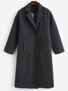 Faux Wool Double Breasted Masculine Coat - Carbon Gray S