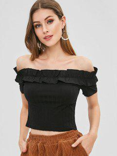 Frilled Ribbed Off The Shoulder Crop Top - Black L