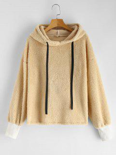 Drawstring Fluffy Faux Shearling Hoodie - Champagne L