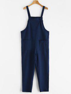Tie Strap Patch Pocket Overalls - Deep Blue M