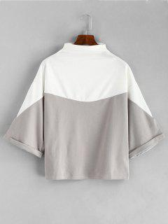 Two Tone Loose Batwing Tee - Gray Goose