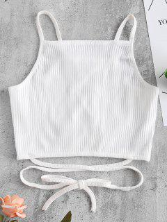 Criss Cross Lattice Ribbed Tank Top - White