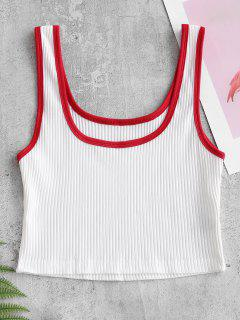 Cropped Ribbed Tank Top - White