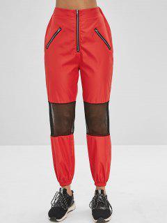 Zippered Mesh Insert Jogger Pants - Chestnut Red Xl