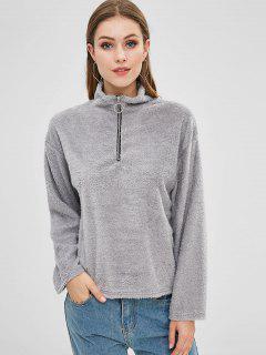 Half Zip Fluffy Teddy Sweatshirt - Gray Cloud S