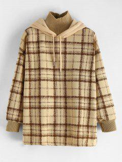 Fleece Lined Plaid Tunic Hoodie - Multi-a Xl