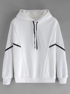 Batwing Sleeve Fleece Lined Hoodie - White L