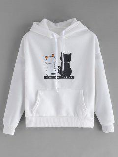 Fleece Lined Pocket Cat Print Hoodie - White L