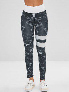 Printed Striped Layer Leggings - Multi-a L